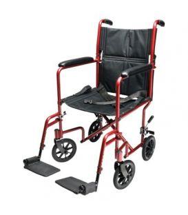 """EJ781-1  Lightweight Aluminum Transport Chair, 17"""", Red"""