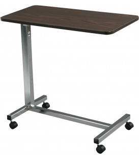 Drive Medical Non Tilt Top Overbed Table - Walnut Top, Silver Vein Base and Mast