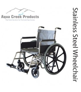 "Aqua Creek Folding Pool Access Chair 20"" Stainless Steel- 350 lb. Wt. Cap."