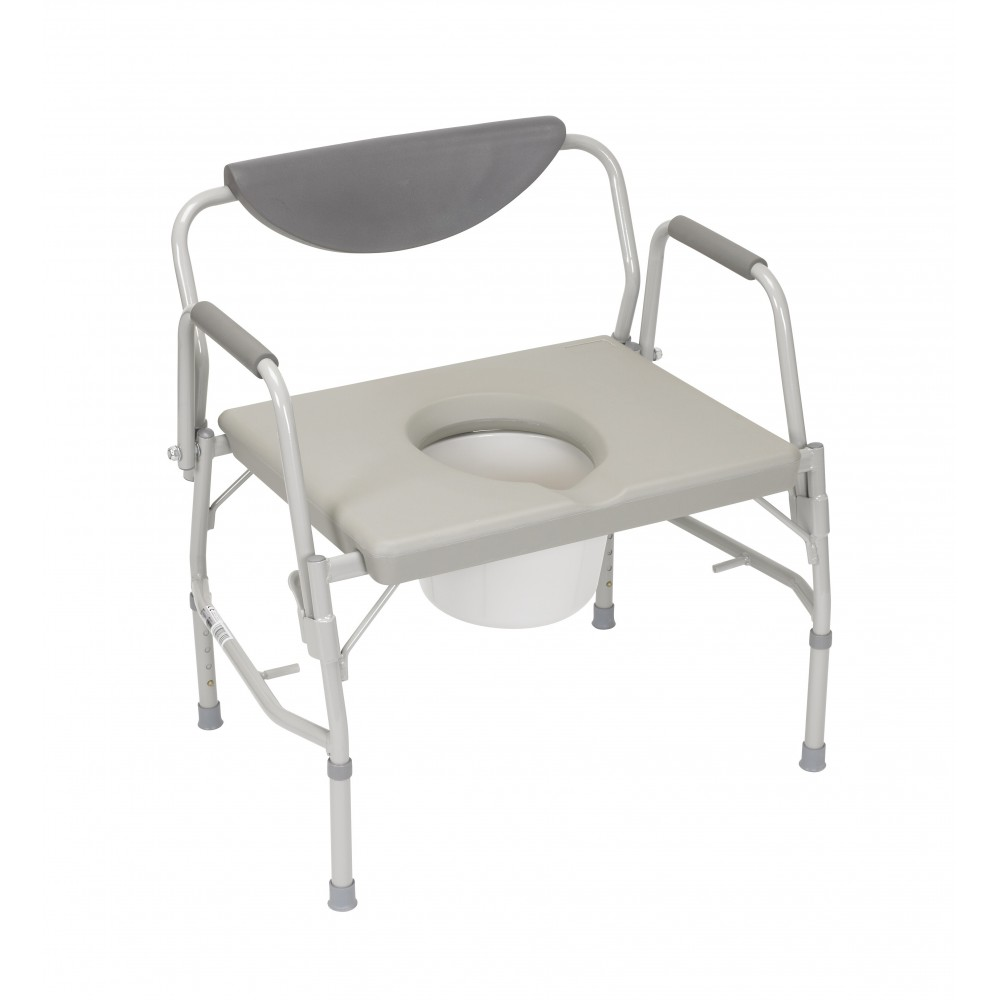 Deluxe Bariatric Drop Arm Bedside Commode Chair 1000lb Wt