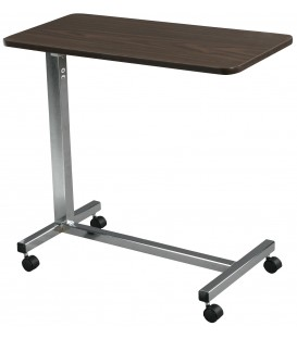 Non Tilt Top Overbed Table w/Walnut Top, Chrome Base & Mast - Drive