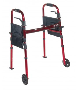 "Deluxe Folding Travel Walker with 5"" Wheels and Fold up Legs"