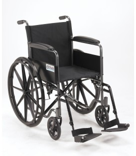 """Drive Silver Sport 1 18"""" Wheelchair with Full Arms & Swingaway Removeable Footrests"""
